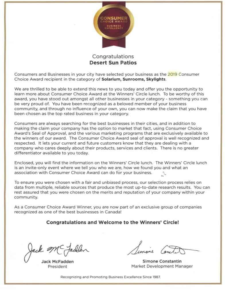 Desert Sun Patios Consumers Choice Award letter
